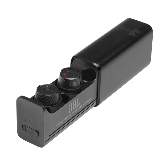 UA True Wireless Flash X - Engineered by JBL - Black - Waterproof true wireless sport earbuds - Hero