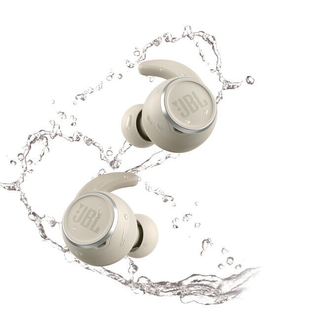 JBL Reflect Mini NC - White - Waterproof True Wireless In-Ear NC Sport Headphones - Front